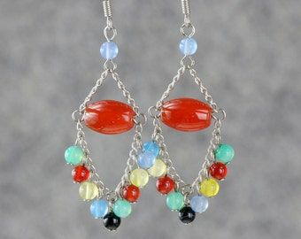 Colorful assorted stone dangling chandelier earrings Bridesmaids gifts Free US Shipping handmade Anni designs