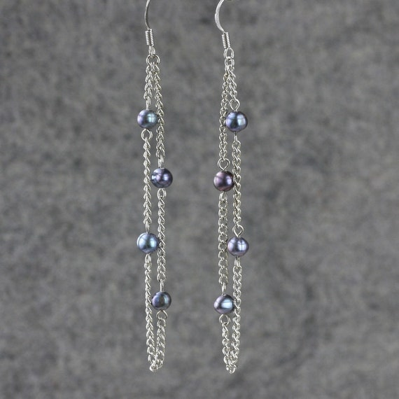 Black pearl linear long chain earrings Bridesmaids gifts Free US Shipping handmade Anni Designs