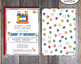 Bounce House Invitation   Bounce House Invite   Bouncy Castle Invitation   Jump Invitation   Ball Pit Party   Address Labels   Printable