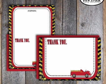 Fire Truck Thank You Notes - Fireman Thank You Cards - Fireman Birthday Party -  Customized Printable (Firefighter, Fire Engine)