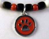 Pawprint Necklace and Earring Set in Red, Black, White, and Silver