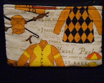 Handmade Coin Purse, wallet, change, make-up case, mod print