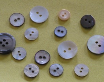 Vintage Buttons Abalone Pearl Shell Shirt Type Sew On 2 Hole Lot of 14 Buttons Mother of Pearl MOP