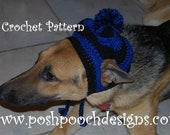 Instant Download Crochet Pattern  - Large Dog - Striped Earflap Dog Hat Big Dogs 31 - 100 Pound dog