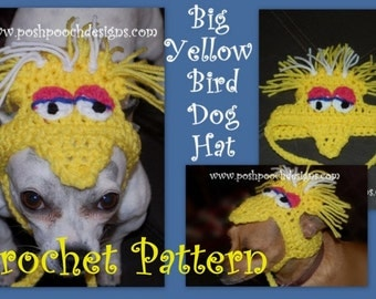 Instant Download Crochet Pattern  - Big Yellow Bird Dog hat - Small Dog  beanie - Big Bird