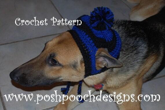 Crochet Dog Earflap Hat Pattern : Instant Download Crochet Pattern Large Dog Striped