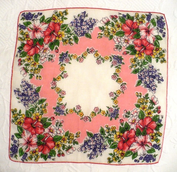 Multi-color and White Handkerchief with a Flower Motif