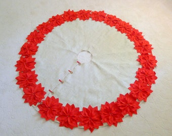 """72"""" Christmas Tree Skirt in a Light Natural Burlap with Red Hand cut Poinsettas around the perimeter. """"FREE SHIPPING"""""""