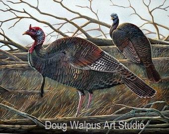 Turkey Painting by Doug Walpus, Art Print, Birds, Home Decor, Wall Decor, Gifts, Art and Collectibles Wild turkey, Acrylic, Office Decor