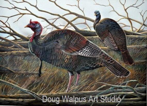 Wild Turkey Painting, Acrylic,Wildlife Art, Turkey Hunter, Birds, Wall Art, Home Decor by artist Doug Walpus
