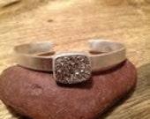 Brilliantly Dazzling Bezel-Set Druzy Silver Cuff Bracelet