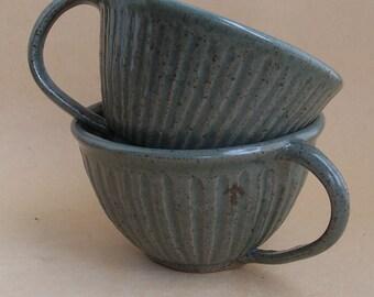 Hand thrown Fluted Stoneware Mug, with grey green glaze