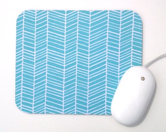 Herringbone Mouse Pad / Aqua Blue and White / Rectangular Mousepad / Office Home Decor