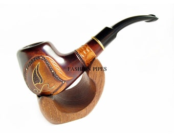 "Fashion Set -Pipe ""Neptunian"" & Stand, Handcrafted Tobacco Pipe, Wood Pipe Inlaid and Metal Engraving Wooden pipe. BEST Price in FPS"
