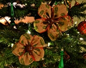 Burlap Flower Christmas Ornaments in Holly Berry -- Set of 10