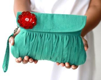 Ultramarine green clutch with red beaded flower, wedding clutch, autumn/fall fashion clutch  purse