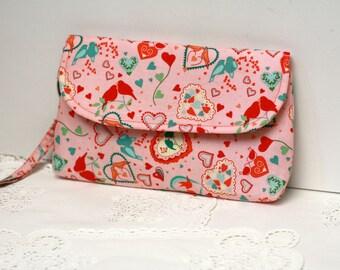 Valentine Pink Clutch, Zippered Clutch, Padded Clutch