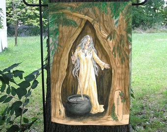 Crone of the Yew Tree Celtic Ogham Garden Flag