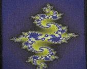 Printed Sew On Patch - RANDOM BLUE FRACTAL - Vest, Bag, Backpack, Jacket