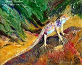 Reserve for Scott - Abstract Realism Heavy Textured Acrylic Spiny Lizard Painting - Desert Resident - 16x20ins