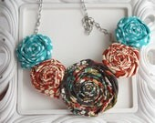 Fabric Flower Necklace- Brown, Turquoise, Orange