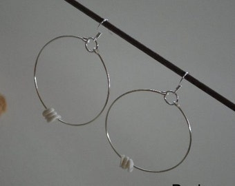Seashell Jewelry ... Puka Shell Hoop Earrings (0569)