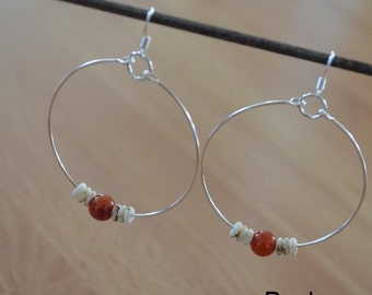 Seashell Jewelry ... Simple Brown Glass Bead Hoop Earrings (0684)