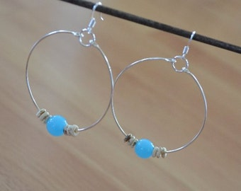 Seashell Jewelry ... Simple Blue Glass Bead Hoop Earrings (0690)