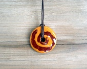 Ceramic pendant - Circle - Geometric - Ochre and Brown - JullMade