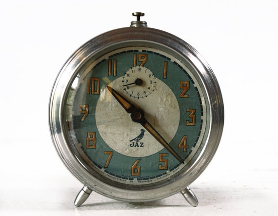 Beautiful vintage French Jaz Metal Alarm CLOCK with blue and cream dial - LOFT DECO