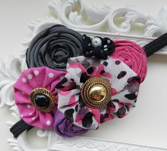 Baby Headband, Pink Headband, Newborn Flower Headband, BlackHeadband