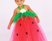 Tutu Dress - Strawberry Birthday or Halloween Costume - Red & Green - Berry Beauty - 3-4 Toddler Girl