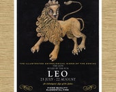 "Illustrated Zodiac Leo the Lion 8"" x 10"""