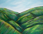 Original Landscape Painting, Green Mountains, Semi Abstract, Vermont, stretched canvas, 8 x 10, home decor