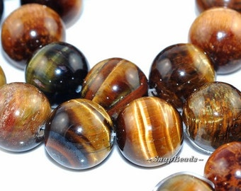 Jumbo Cognac Tiger Eye Gemstone Round 14mm Loose Beads 16 inch Full Strand (90165049-3)
