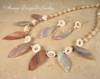 Mother of pearl and nautilus shell necklace & earring set