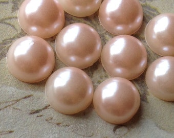 8 mm Light Peach Color Flat Back Pearl Cabochons (.mmhg)