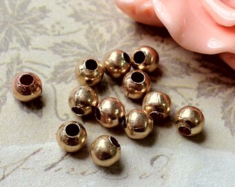 4 mm Rose Gold Color Round Metal Bead / Spacer Beads.(.mmc).