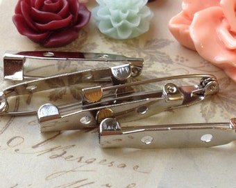 30 mm Platinum Plated Pin Back Brooch Safety Pin Findings (.mn)