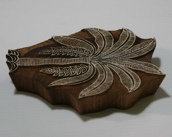 Tree Stamp - Wood Block - Palm Tree Design - Hand Carved - Indian Inspired