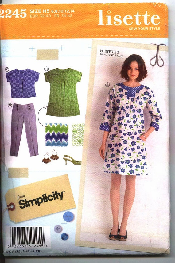 New SIMPLICITY LISETTE 2245 MISSES  Pattern Size 6-14 Dresses in 2 Lengths  Top and Slim Pants Uncut Factory Folded