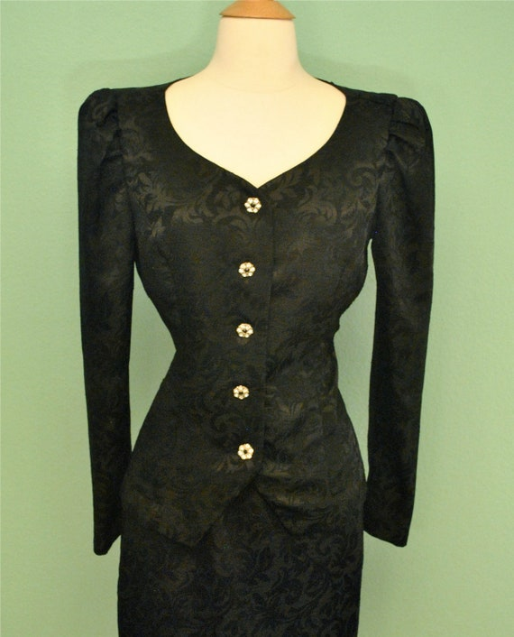 Vintage Dress Suit in Black with Rhinestone Buttons - 1980s 80s does 1940s 40s 1950s 50s - Rockabilly Pinup Burlesque
