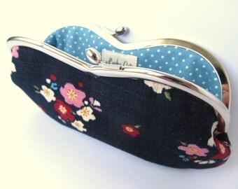 Glasses case Kiss lock purse Eyeglass case Metal frame blue turquoise sakura cherry blossom