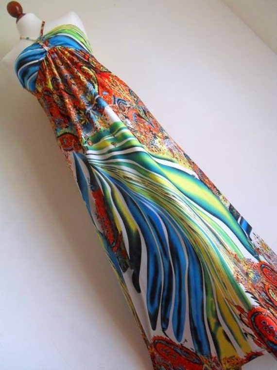 The Psychedelic Dream . Amazing Paisley Print Halter Dress High Quality Jersey M medium Maxi