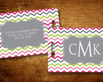 Luggage Tag - Cheery Chevron Personalized Bag/Luggage Tag