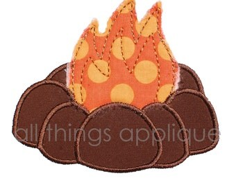 Camp Fire Applique Design - Machine Embroidery - INSTANT DOWNLOAD