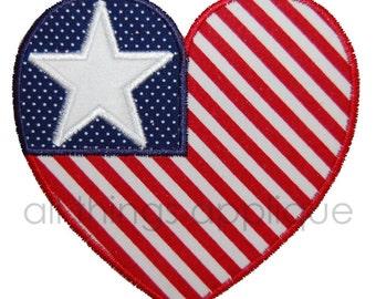 Patriotic Heart - Machine Embroidery Applique Design - INSTANT DOWNLOAD
