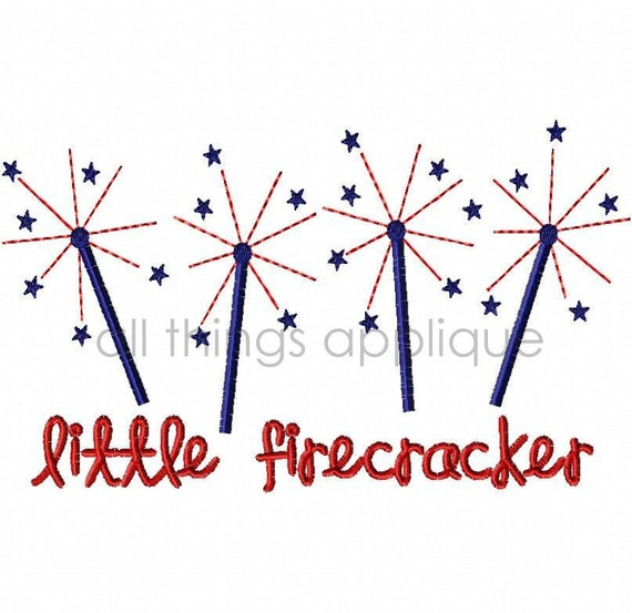 Little Firecracker Machine Embroidery Applique Design - 4th July Applique - INSTANT DOWNLOAD