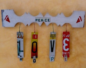 PEACE-LOVE-HOPE recycled license plate sculpture by LICENSE2SPELL