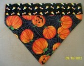 Hand-Made Reversible Dog Bandana, 2-Sided, Over the Collar, Halloween Candy Corn, Spider Webs, Trick or Treat
